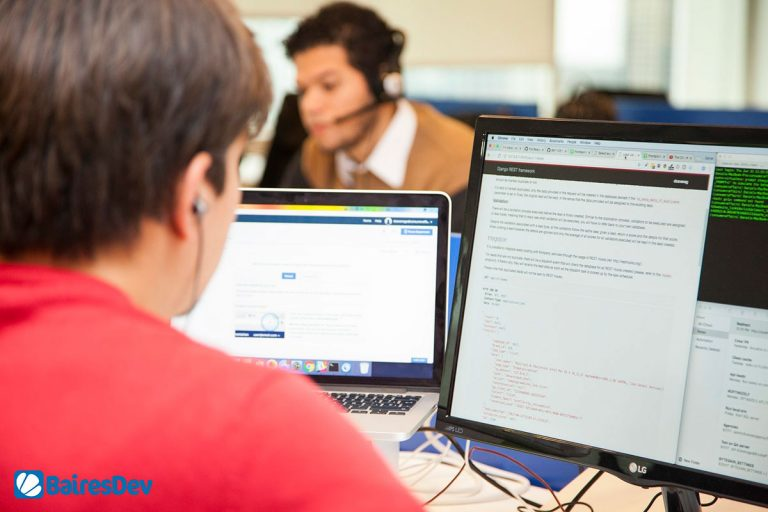 Remote developers working on software outsourcing project