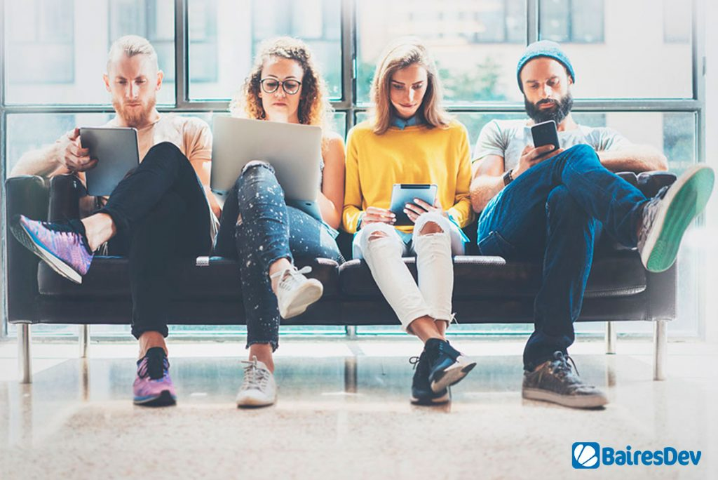 Group of male and female software developers with different tech roles