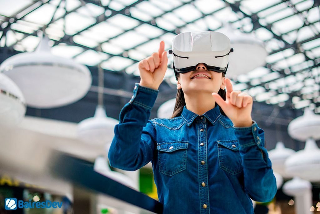 Female developer using VR headset for Software development innovation