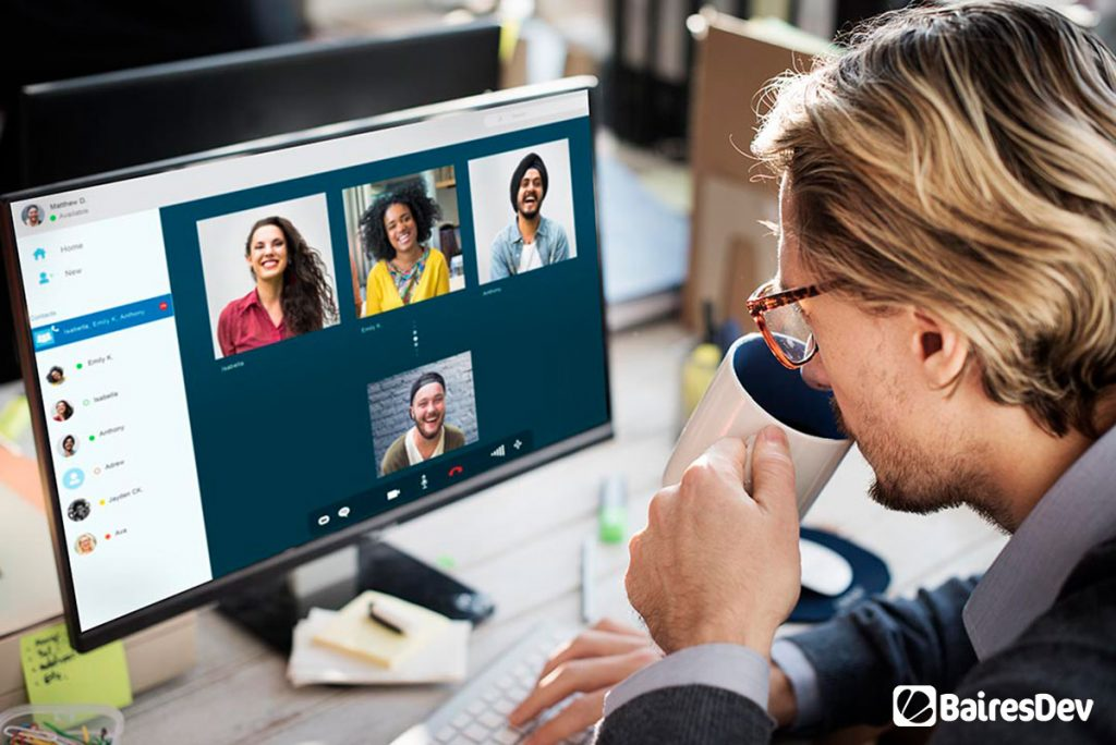Outsourcing team having a remote work meeting