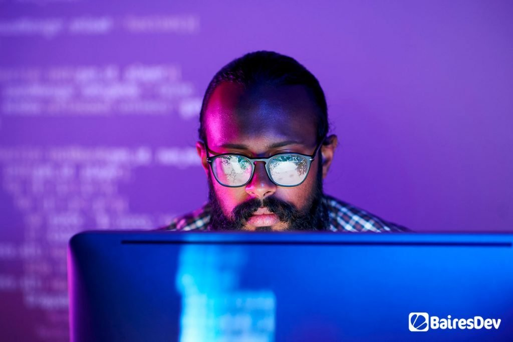Software developer working on cyber security