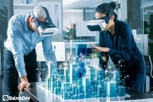 Male and Female software engineers with Virtual Reality Headsets working on Smart City Hologram