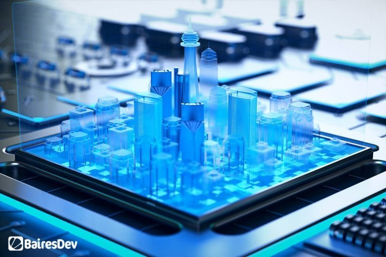 Smart Cities blue hologram displayed over software chip