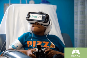 Hospitalized child playing with VR set