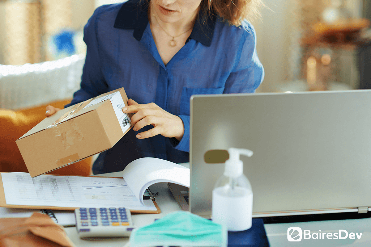 Female ecommerce owner working during covid 19